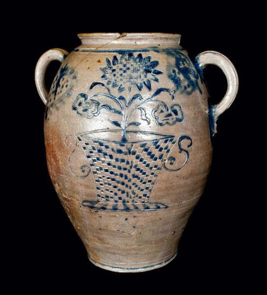 Important Profusely-Decorated Incised Stoneware Jar, Manhattan or New Jersey, circa 1750.  Sold for $28,750