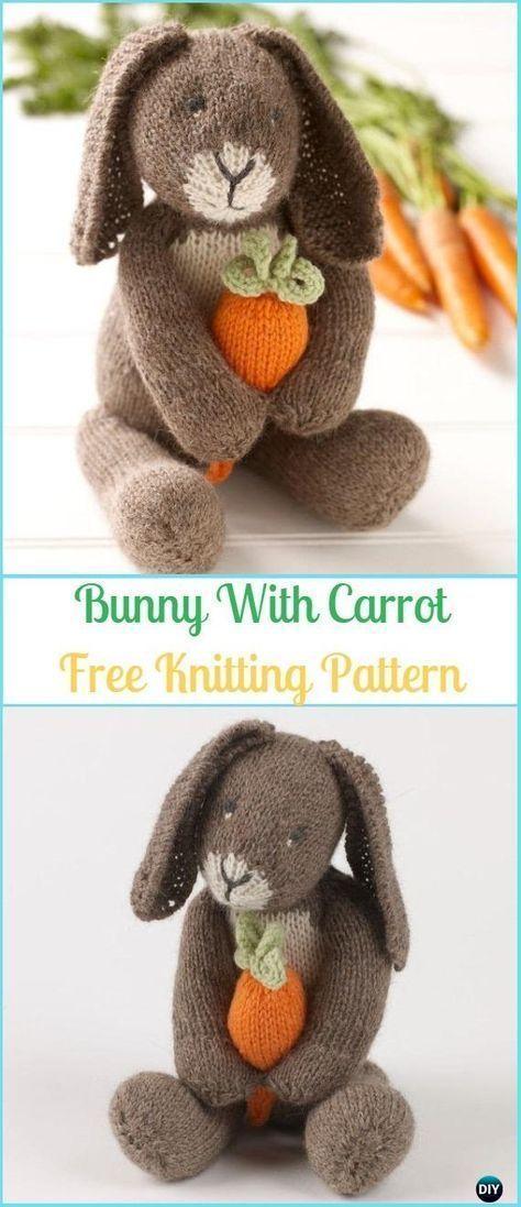 Amigurumi Bunny With Carrot Free Knitting Pattern - Amigurumi Knit Bunny Toy Sof... #knittingpatternstoys