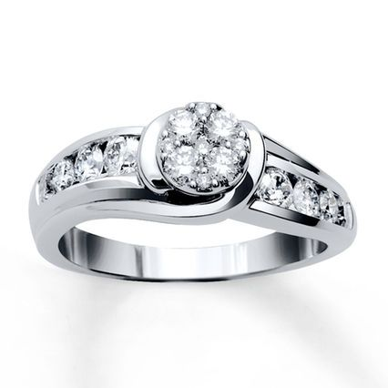 Kay Diamond Engagement Ring 34 ct tw Roundcut 10K White Gold