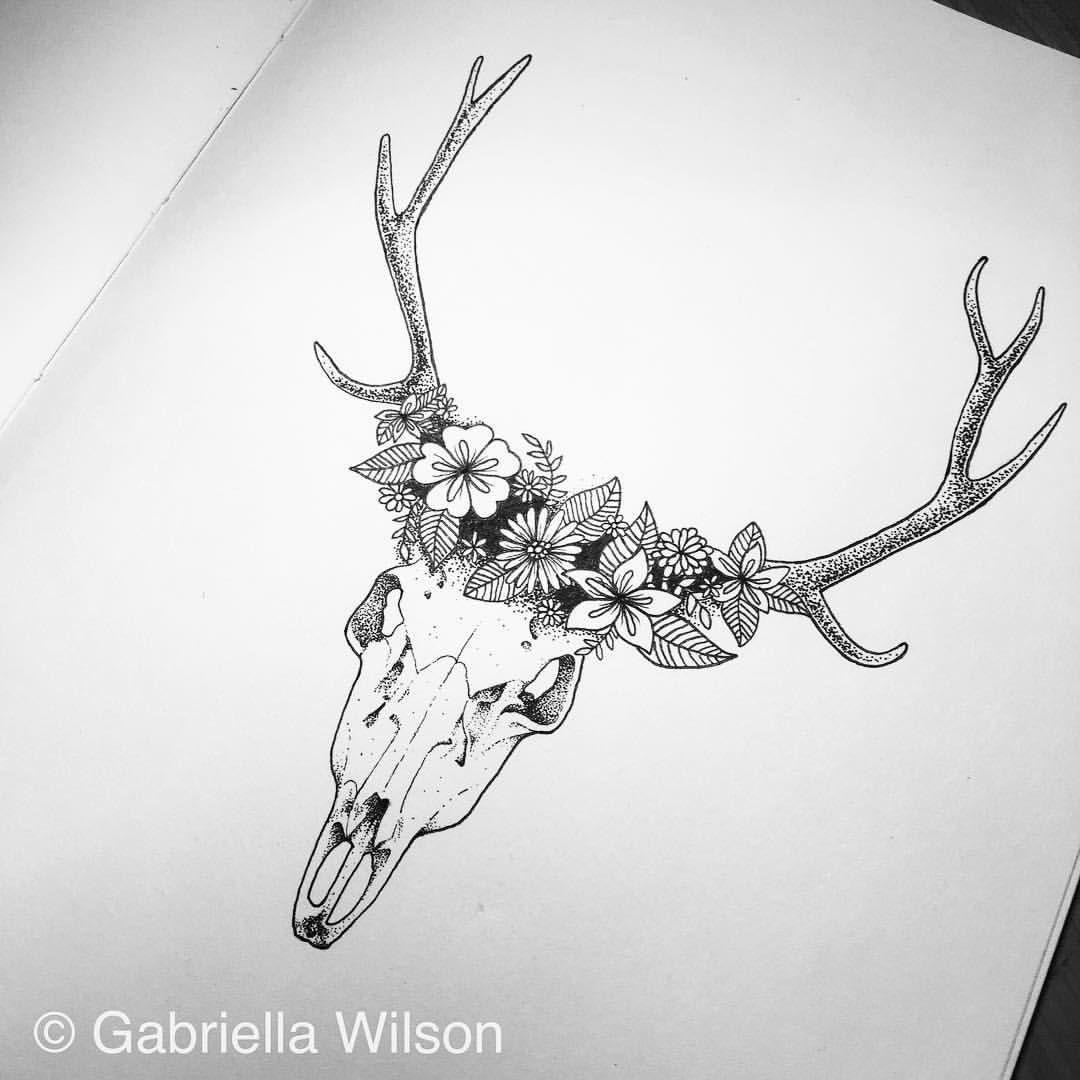 1f785c44b Deer skull #moleskine #moleskineart #doodle #doodleart #iblackwork #ink…  The flowers Animal Skull Tattoos ...