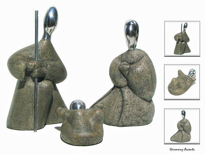 Modern Nativity Set Sculpture Stone W Metal Contemporary Decor