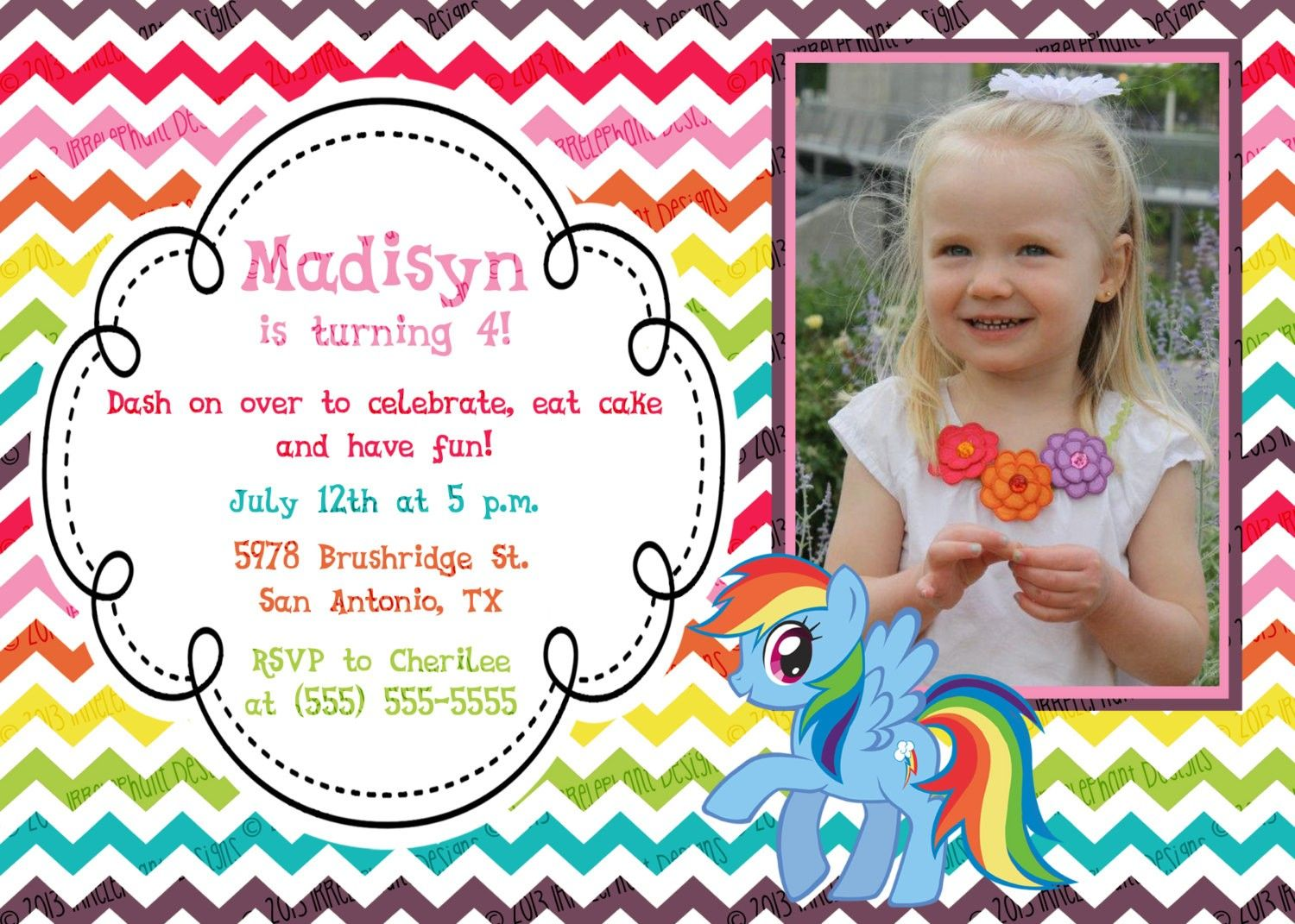 My Little Pony Birthday Invitations Personalized | Sadie\'s B-Day ...
