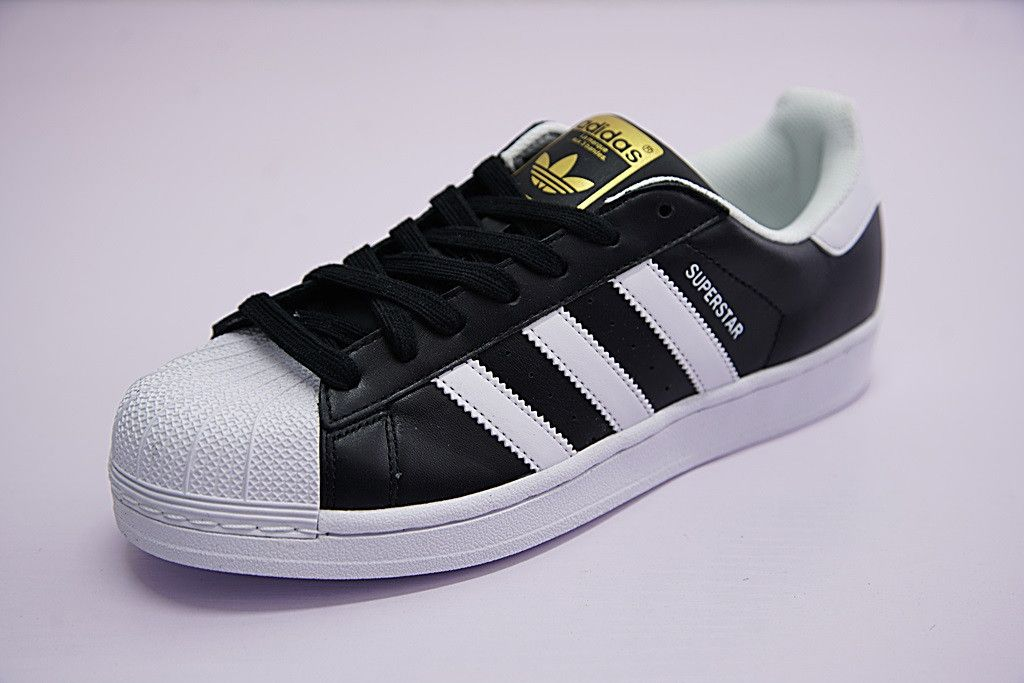 adidas superstar black and white and gold