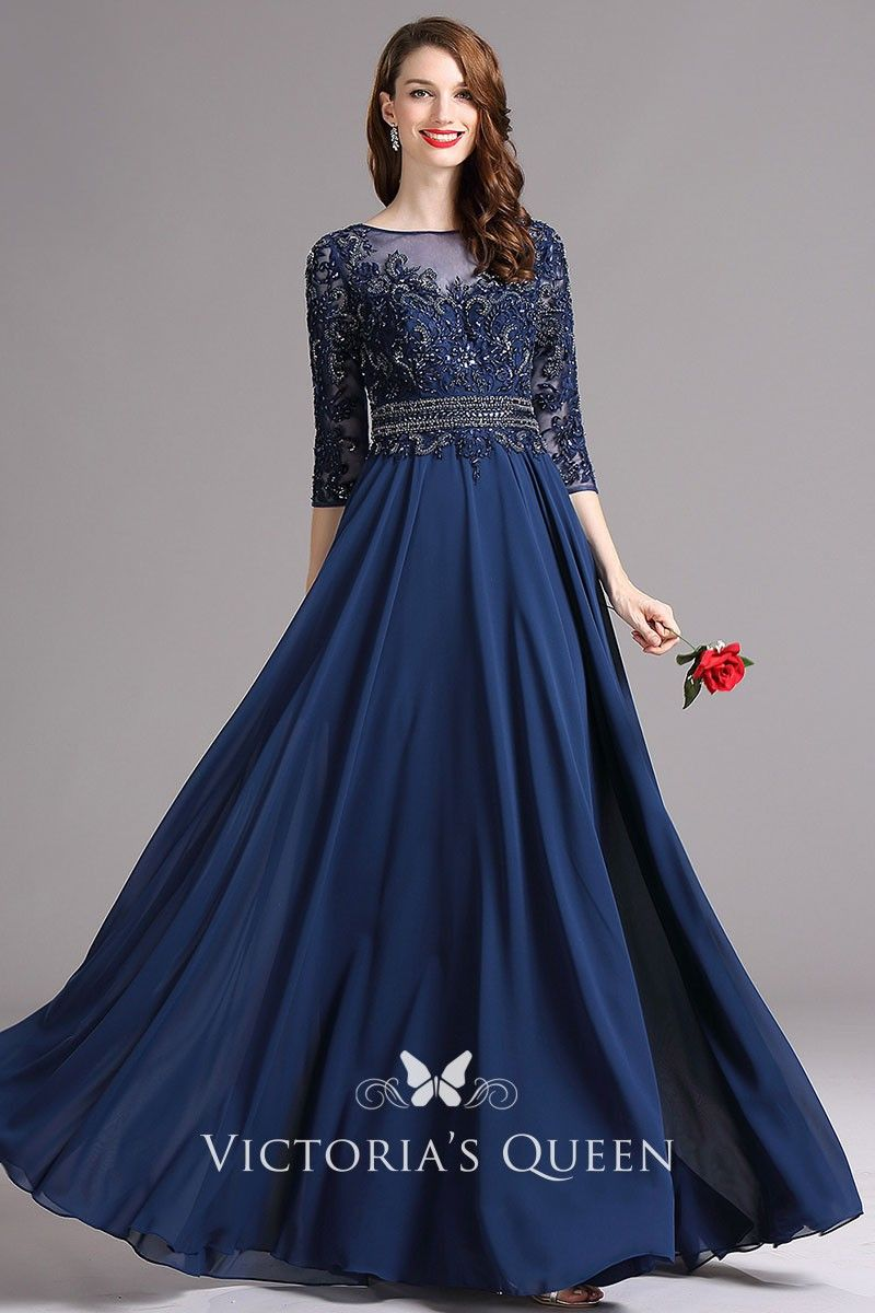 Vintage 3 4 Sleeve Lace And Chiffon Long Prom Dress Chiffon Prom Dress Dresses Half Sleeve Dresses [ 1200 x 800 Pixel ]