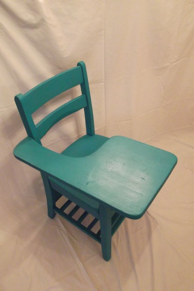 Image Of Turquoise Antique Wooden School Desk Furniture