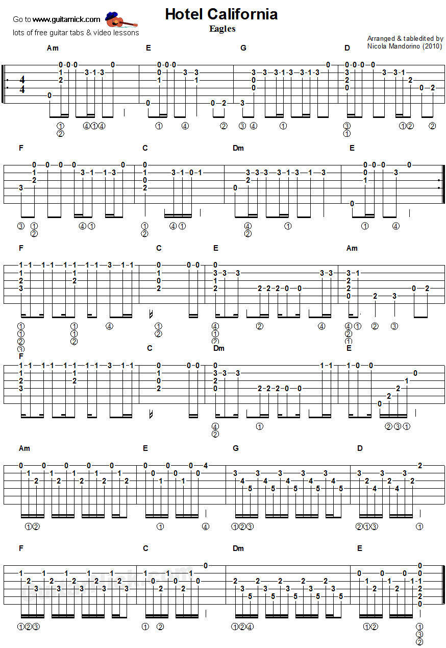 Hotel California Guitar Chords Tablature Muzika In 2018