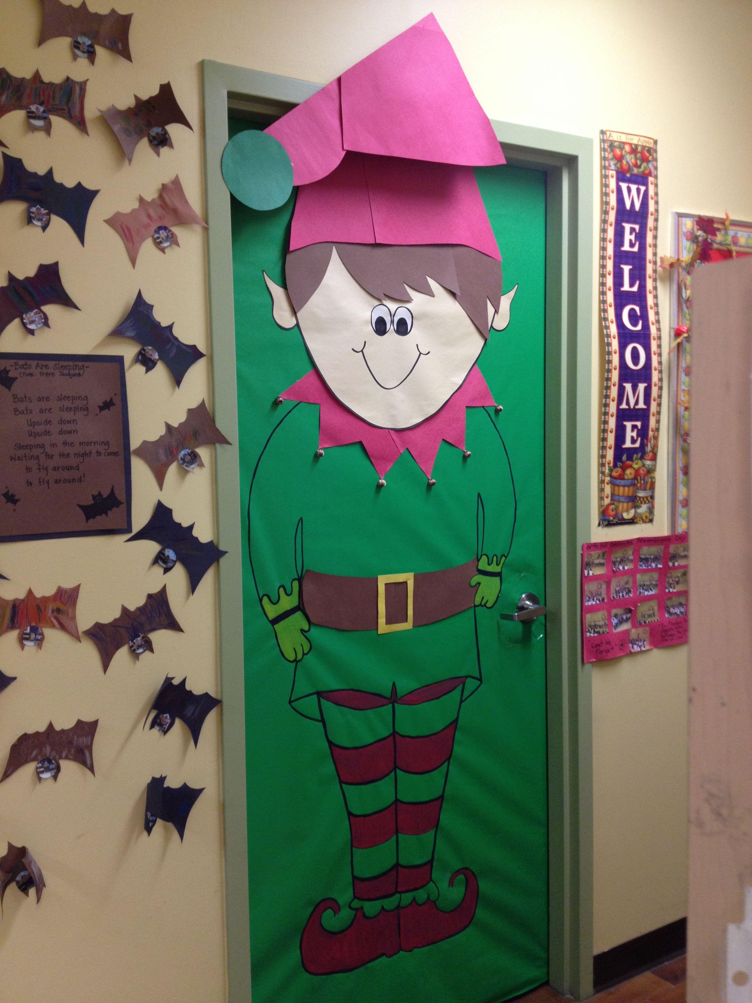 Another christmas theme for a classroom door navidad for Elf door ideas