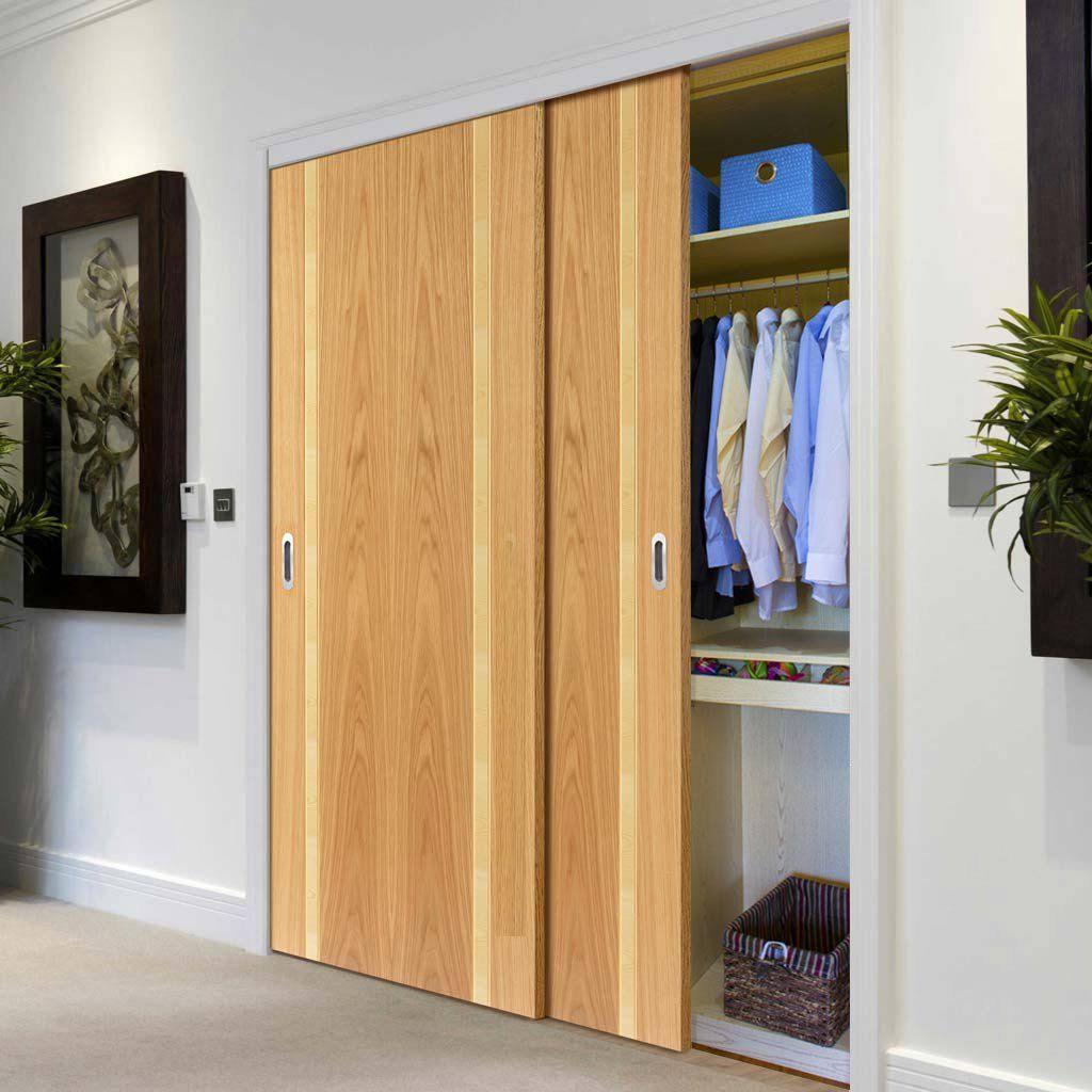 Thruslide Ceylon Oak Ash 2 Door Wardrobe And Frame Kit Prefinished Lifestyle Image Mod Sliding Wardrobe Doors Internal Sliding Doors Sliding Wardrobe