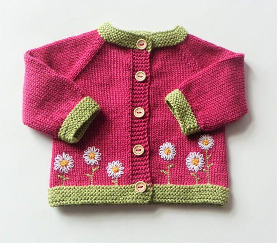 Flor Rebeca suéter rosa Rebeca bebé niña cardigan suéter hecho punto merino  suéter lana cardigan de flores hecho por encargo 7a0c441406e8