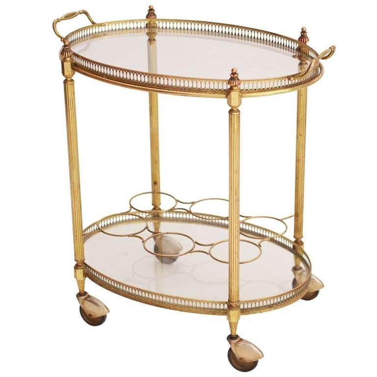 French Art Deco Oval Brass Bar Cart Glass Bar Cart Glass Bar Bar Cart Decor Antique brass bar cart