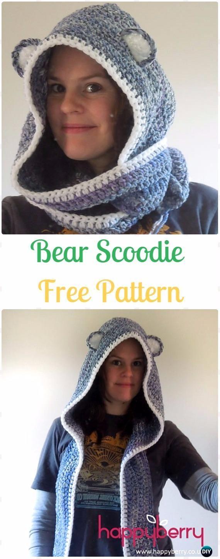 Crochet Bear Scoodie Free Pattern - Crochet Hoodie Scarf Free ...