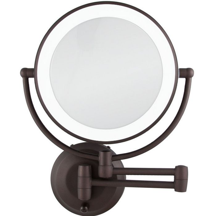 Led Lighted Cordless Round Double Sided Wall Mount Makeup Mirror