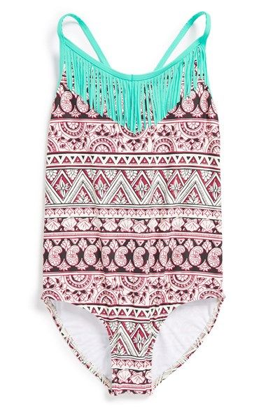 843a1117fd Free shipping and returns on Billabong 'Hippie Grom' One-Piece Swimsuit  (Little Girls) at Nordstrom.com. Playful fringe will swish and sway on an  adorable ...
