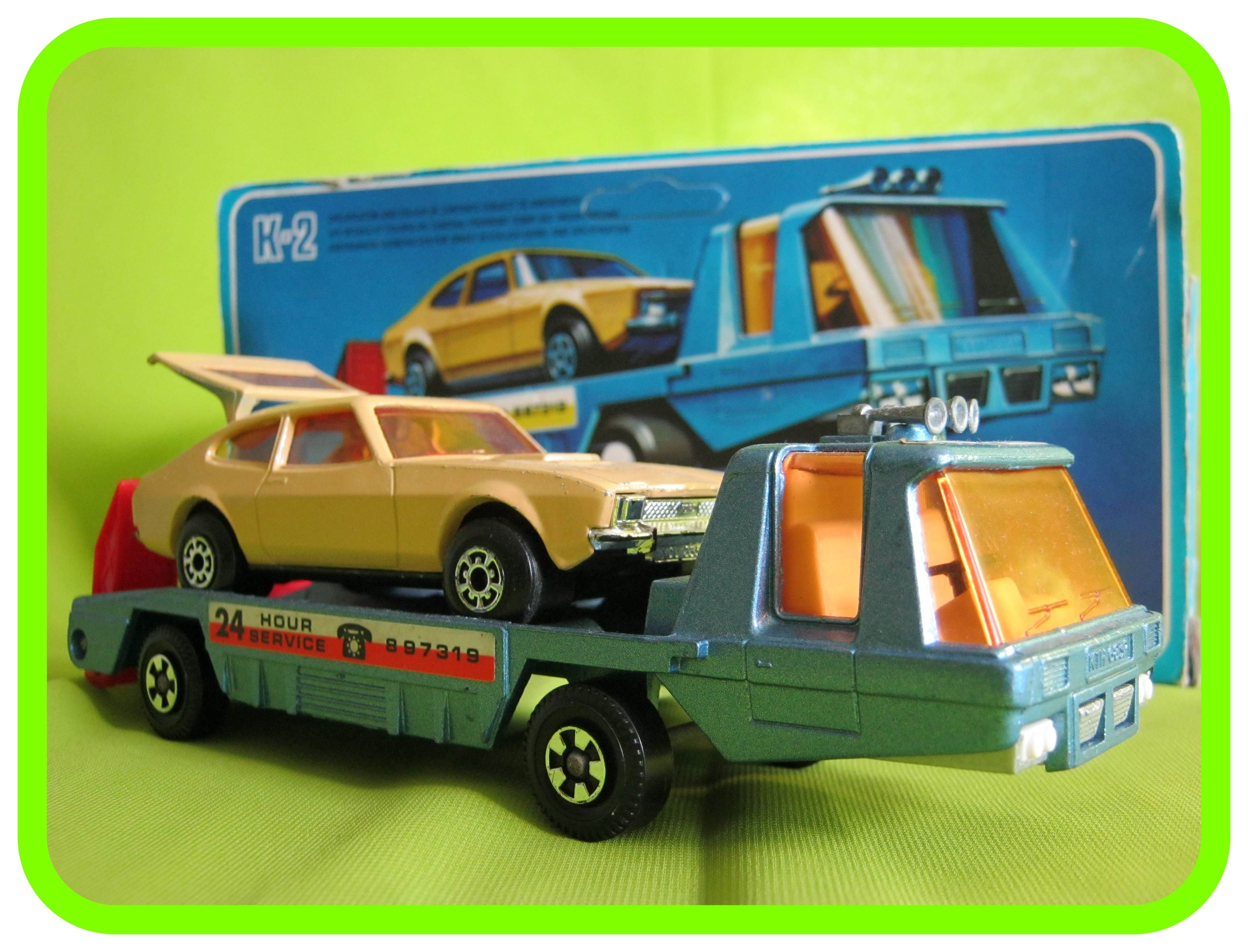 K2 Car Recovery Vehicle Blue With Ford Capri Toy Model Cars Matchbox Cars Toy Car
