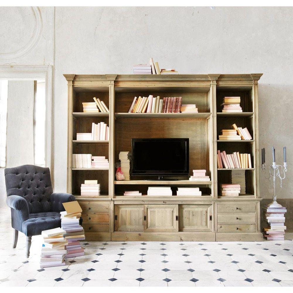 Biblioth Que Meuble Tv En Pin Massif Recycl Biblioth Que Meuble  # Bibliotheque Tv Meuble