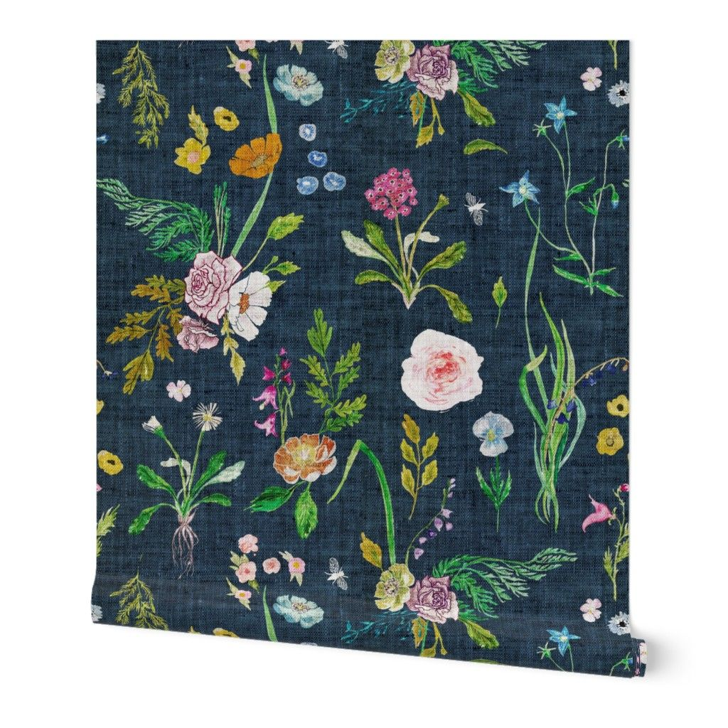 Peel And Stick Removable Wallpaper Floral Summer Daisy Navy Blue Flowers Rose Walmart Com Floral Wallpaper Removable Wallpaper Blue Flower Wallpaper