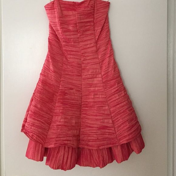 Jessica McClintock Dress Salmon color, short, strapless, zip back, perfect for parties, weddings, etc. Cute and comfortable. You'll be able to party in this dress all day and through the night! Jessica McClintock Dresses