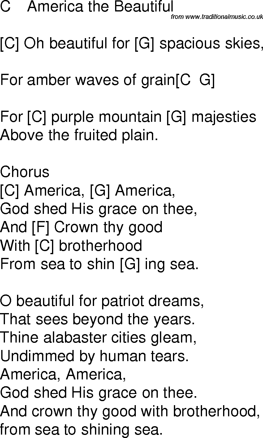 Old Time Song Lyrics With Chords For America The Beautiful C