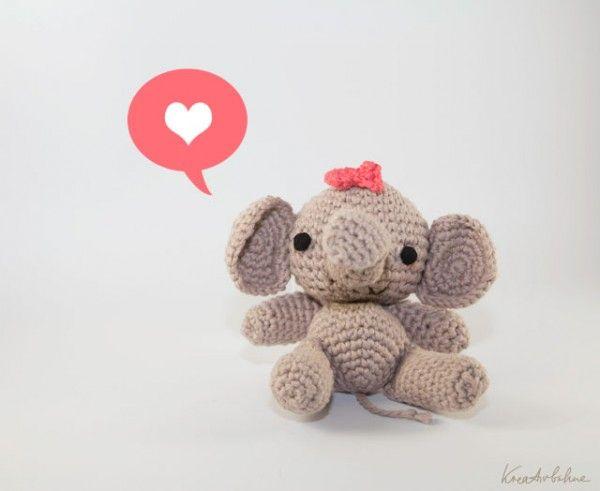 Amigurumi Elefantenbaby Mit Schleife Amigurumi Pinterest