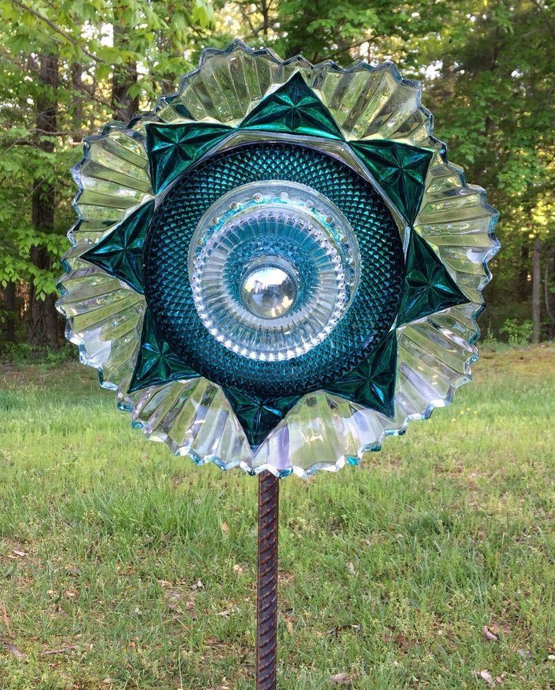 Glass yard art  Turquoise Clear Geometric Cut Glass Garden Flower Repurposed