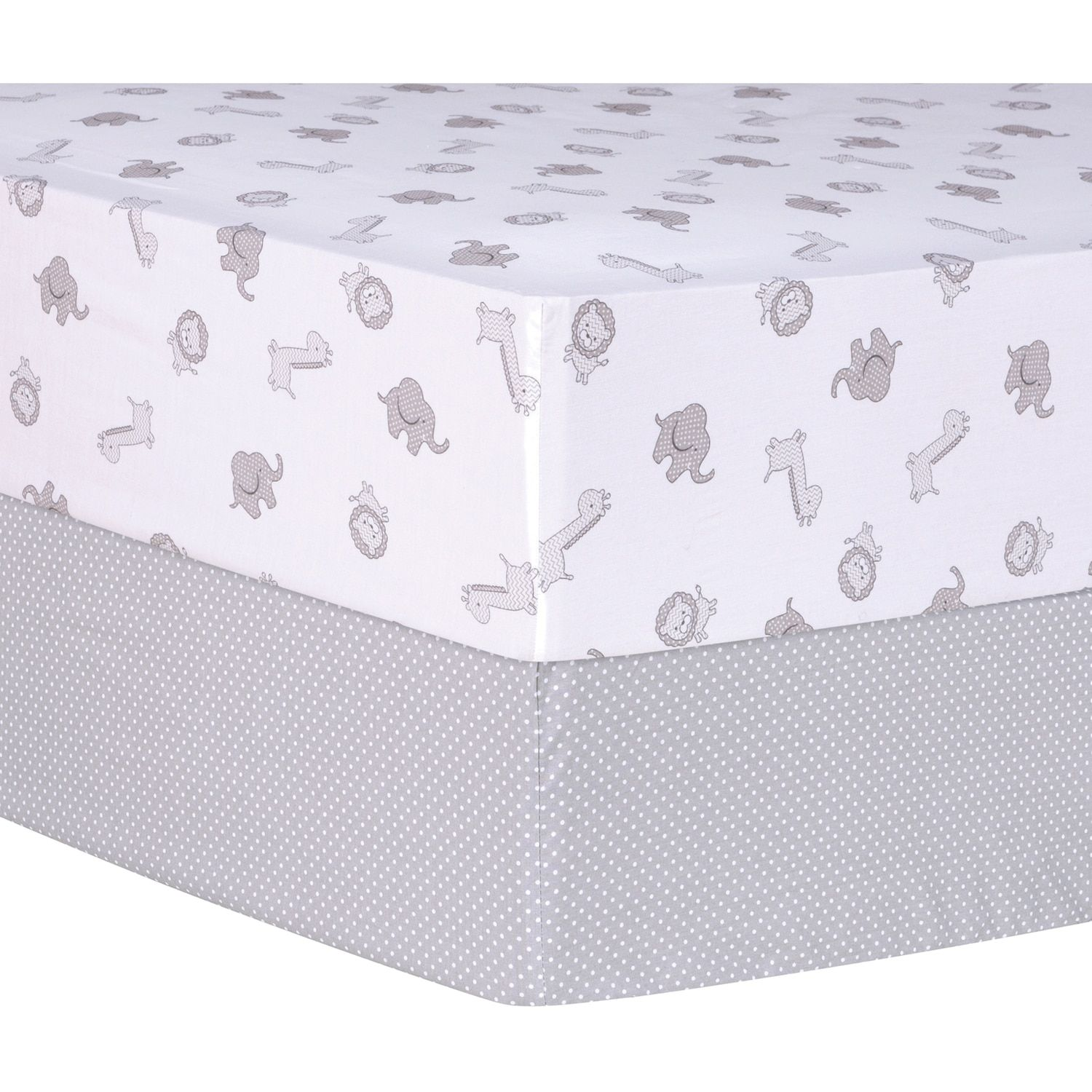 Trend Lab Safari And Dot 2 Pack Fitted Crib Sheet Set
