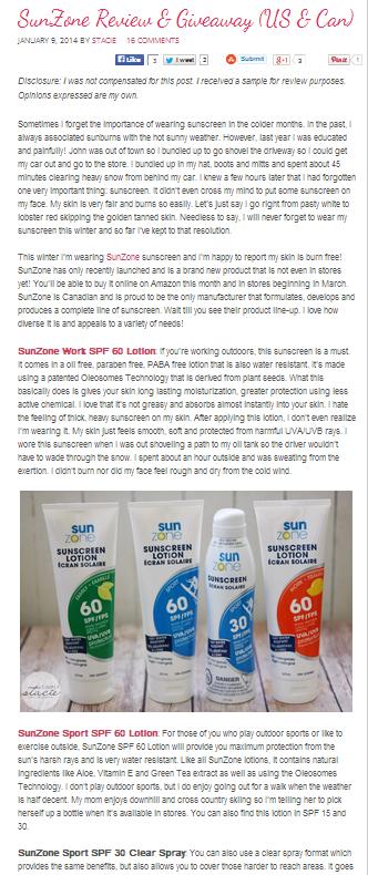 Simply Stacie Reviews SunZone sunscreen