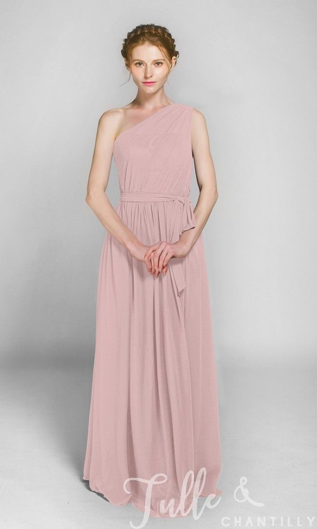 Long One Shoulder Bridesmaid Dress with Sash TBQP246
