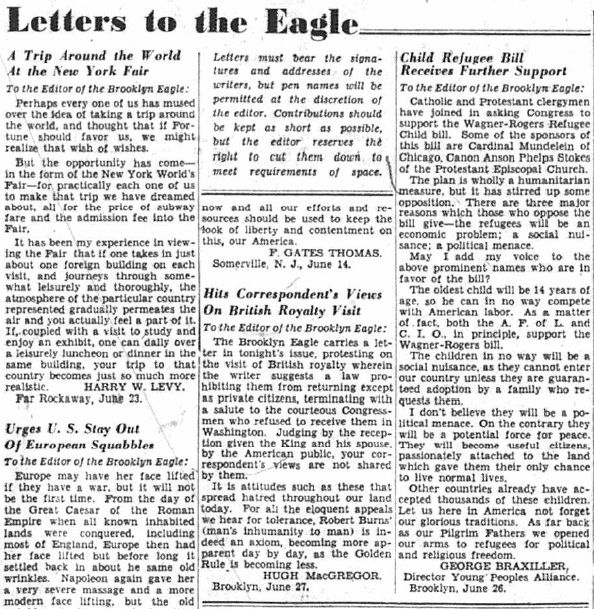Brooklyn Eagle, Letters to the Eagle, from the Library of Congress ...