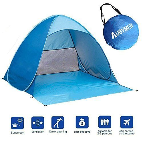 Augymer Pop Up Beach Tent UV Protection Portable 2 Person Folding Shade Sun Shelters Lightweight Hiking C&ing Beach Canopy Cabana Backpacking Pop Up ...  sc 1 st  Pinterest & Pop Up Beach Tent Augymer UV Protection Portable 2 Person Folding ...