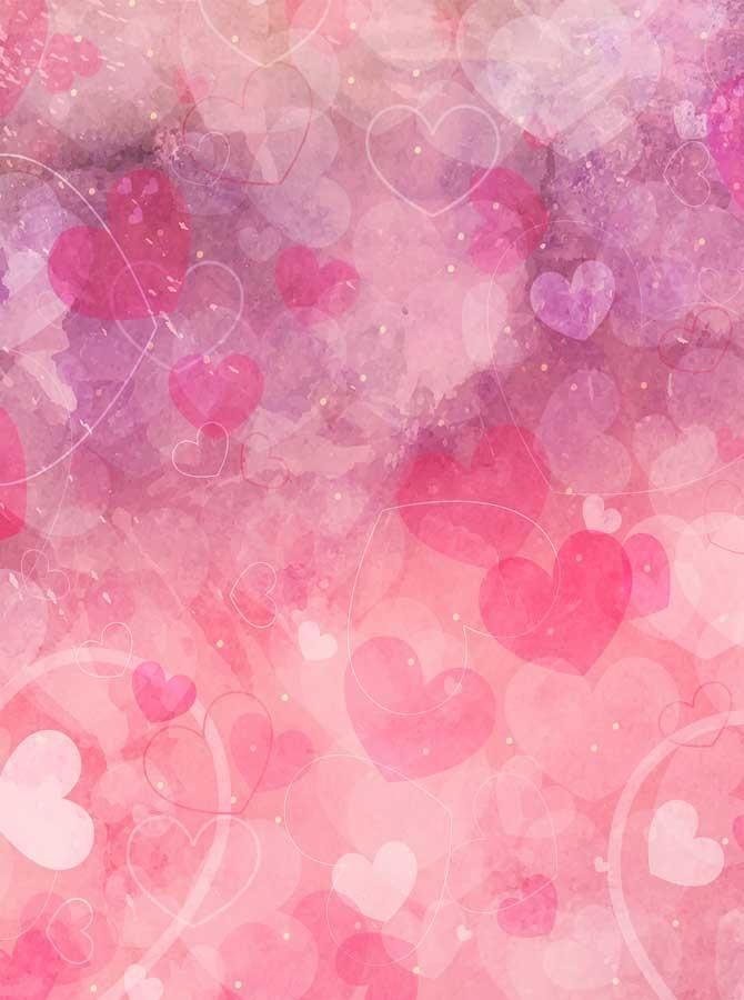 Watercolor Hot Pink Hearts Backdrop - 6292 in 2020   Heart ...