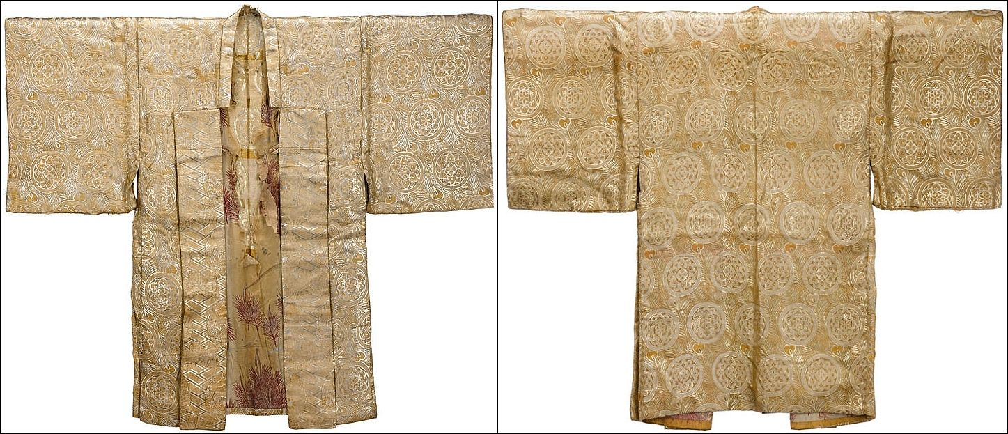 Dofuku (jacket), Momoyama period (16th/17th century). The jacket is made of woven gold and silver threads, with a bold design of peacock feathers, the front flaps with five clawed dragons.