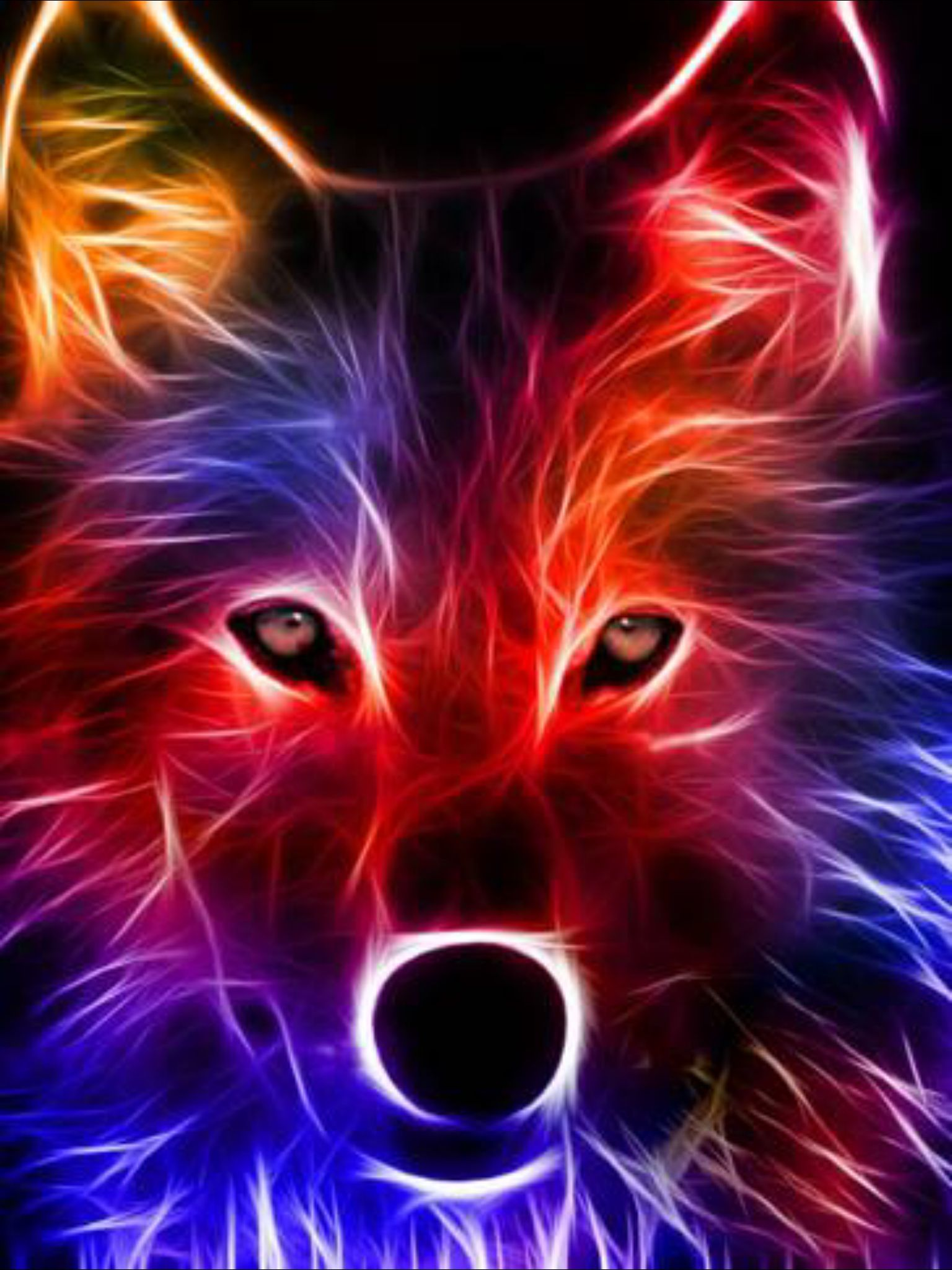 A drawing of a colorful wolf | Wolf wallpaper, Wolf ...