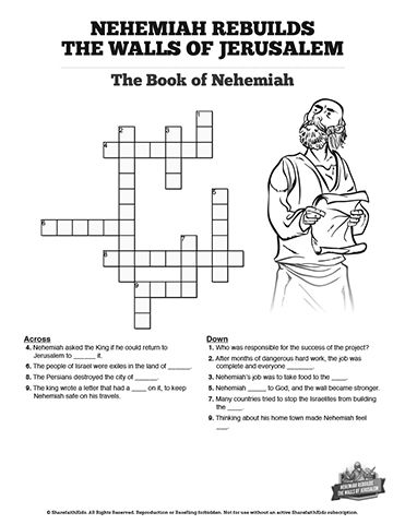nehemiah bible study for kids coloring pages | Book of Nehemiah Sunday School Crossword Puzzles: The book ...
