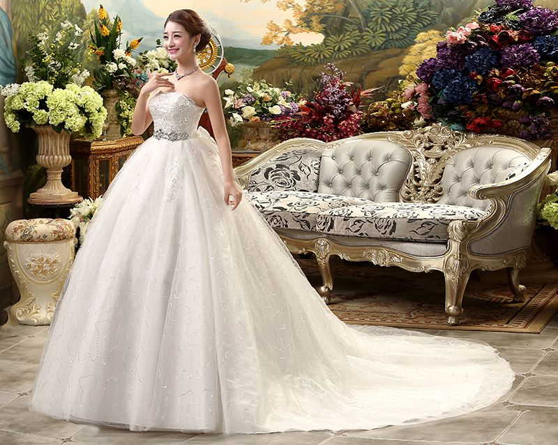 Maternity Wedding Dress Train Formal 2017 Plus Size High Waist Vestido De Noiva Top Beading Bride