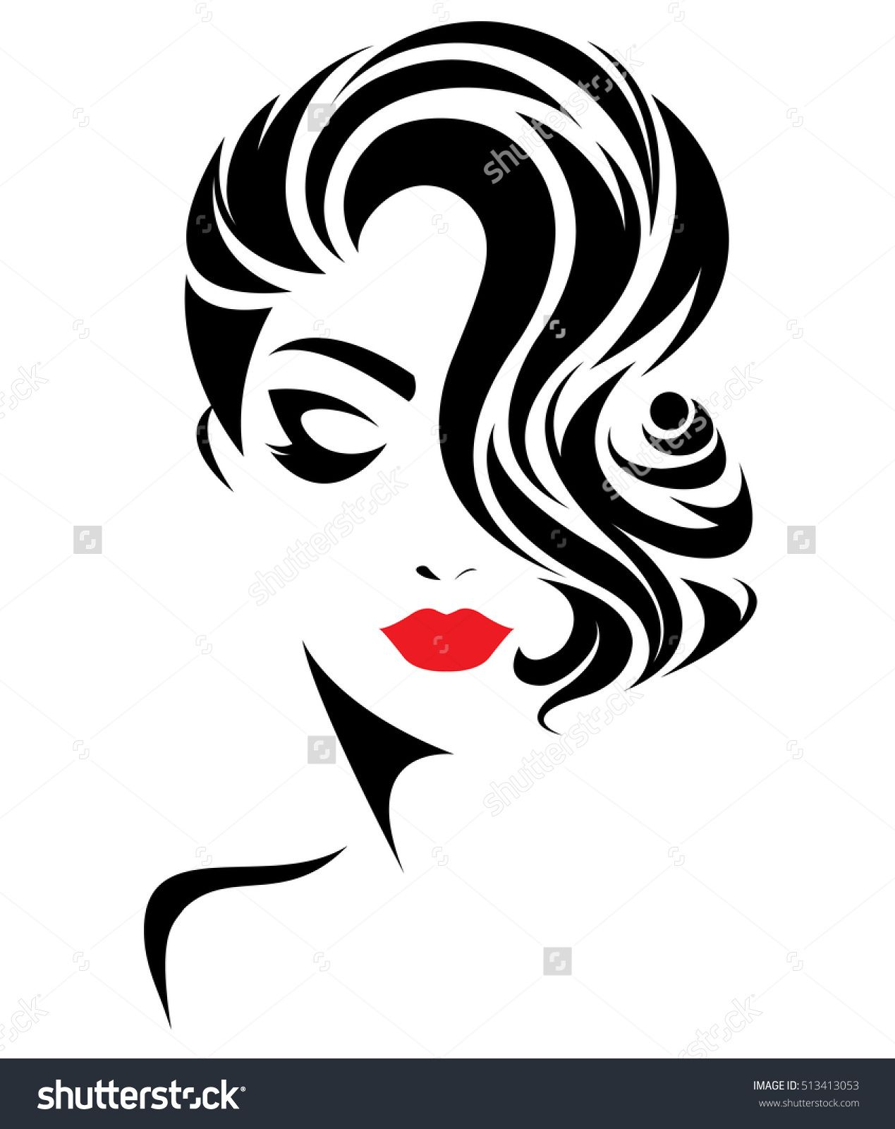illustration of women short hair style icon, logo women