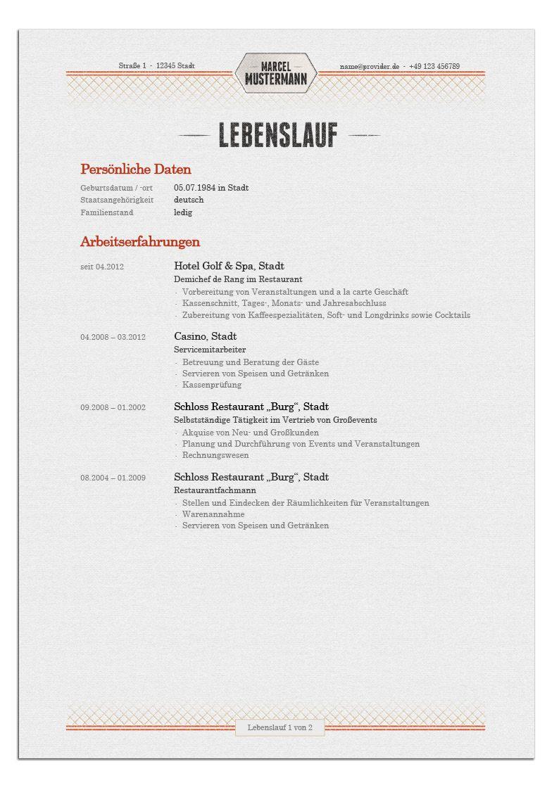 Bewerbungsdesign - Restaurantfachmann (Lebenslauf)