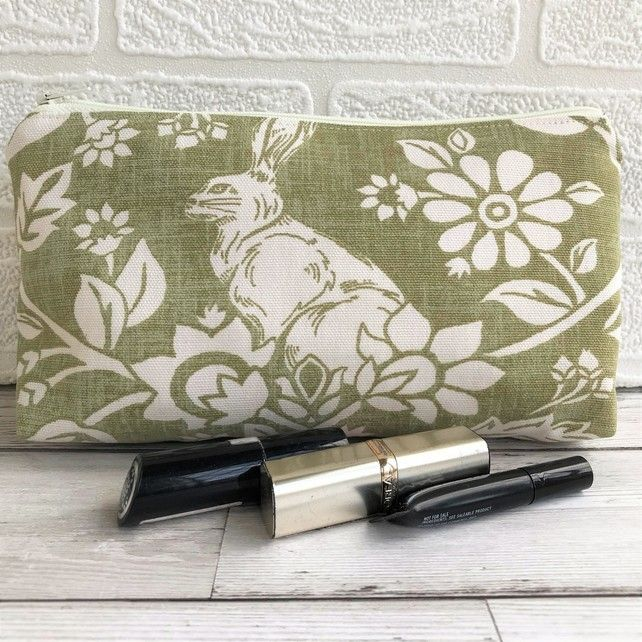 Hare make up bag, cosmetic bag in sage green and white