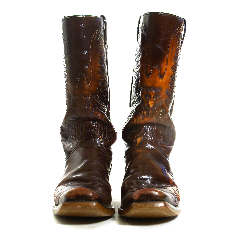 0b88af91ede Embroidered Eagle Motorcycle Boots Vintage 70s Brown Leather Western ...