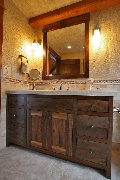 vanity dark bathroom modern walnut double sink