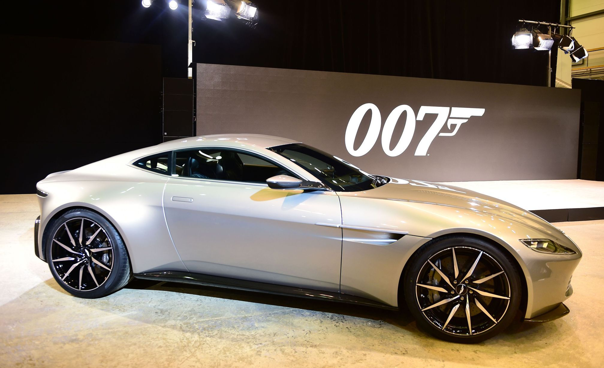 the aston martin db10 at the james bond spectre event at pinewood