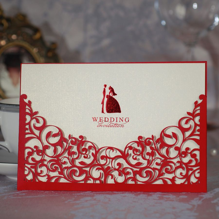 Laser-Cut Wedding Invitations Cheap | wholesale-50pcs-lot-red-Hollow ...