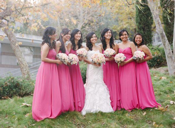 Outdoor Pink   Silver LA Wedding | Hot pink bridesmaids