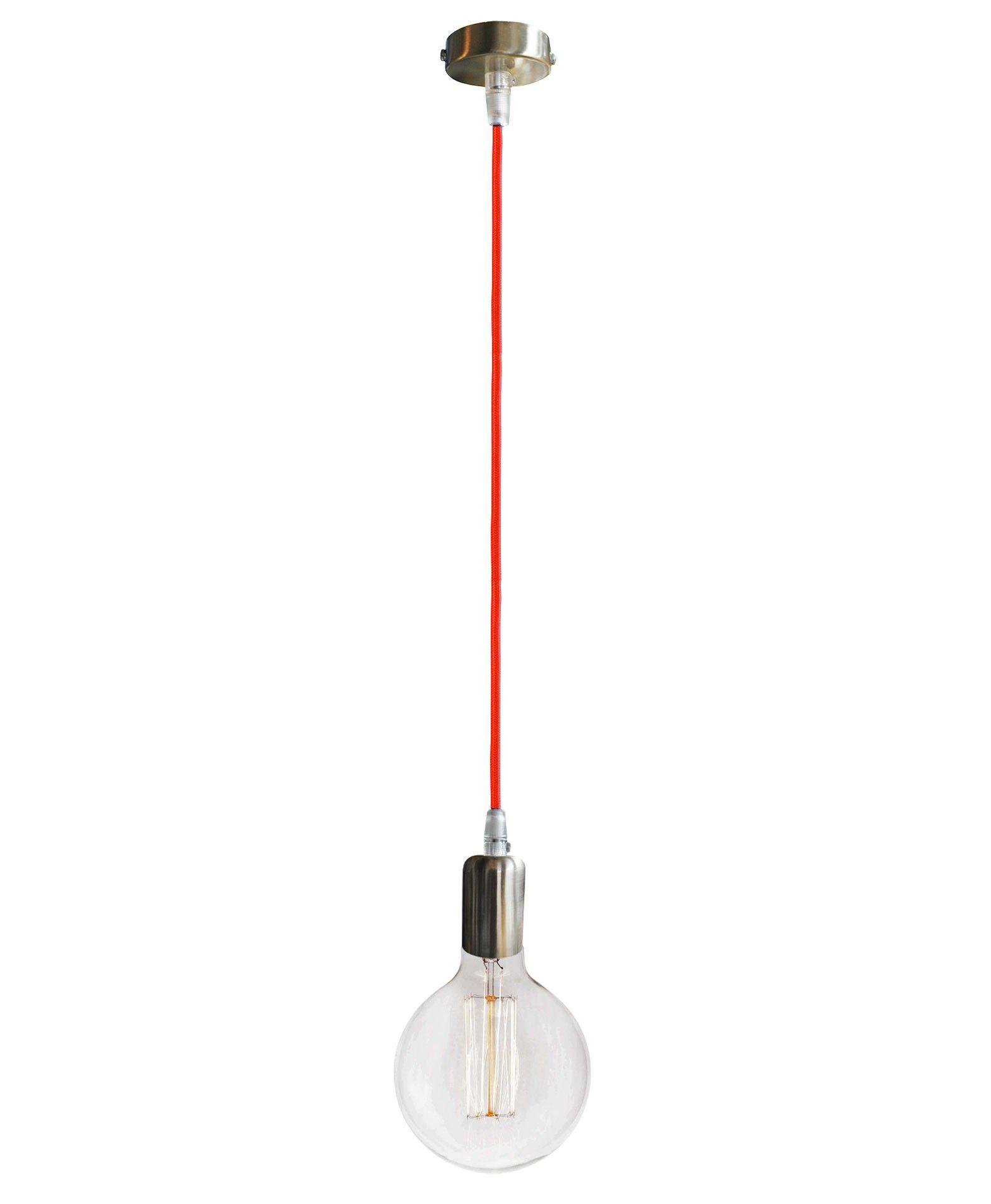 L Mpara De Techo Colgante Cable Tela Roja N Quel Estilo  ~ Lamparas De Techo Estilo Industrial