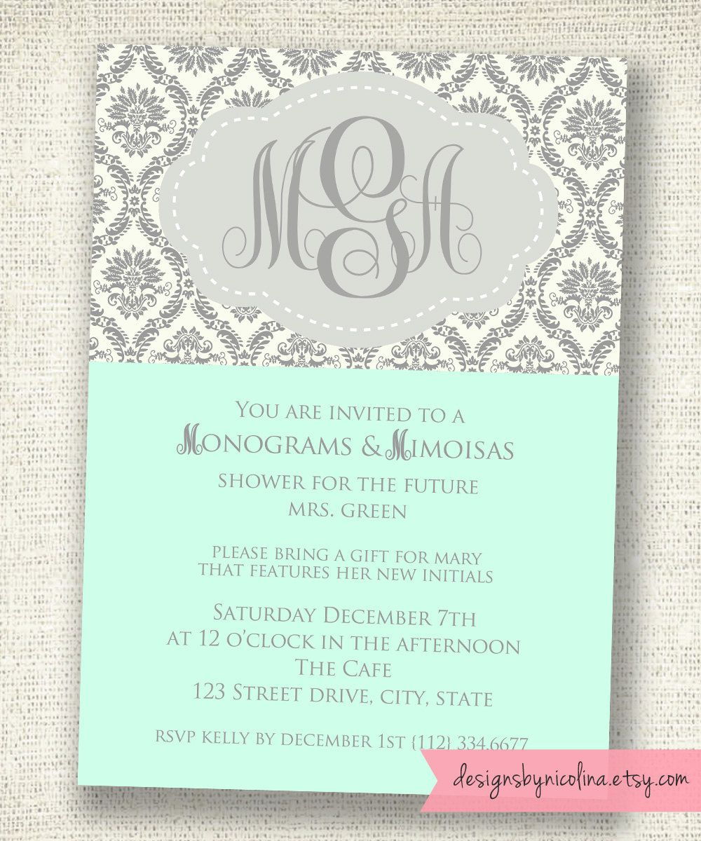 Monograms And Mimosas Damask Shower You Pick The Colors And Frame