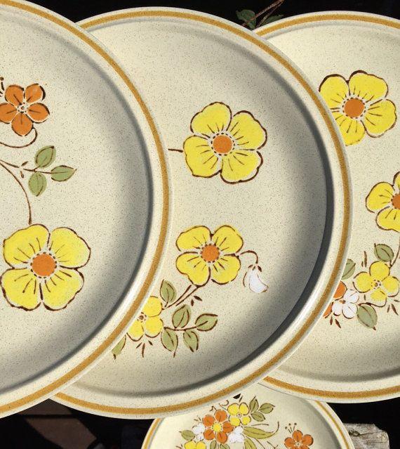 Vintage Stoneware floral dinner plates retro by polkadotsandcurls & Vintage Stoneware floral dinner plates retro stoneware dishes ...