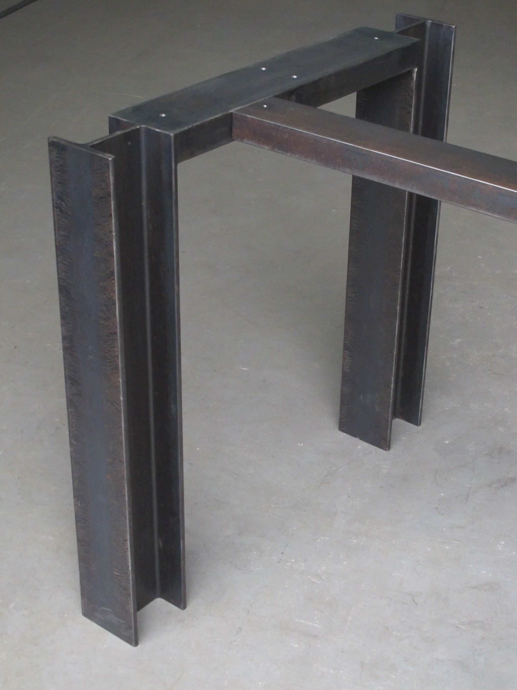 I Beam Table Base Windfall Lumber Steel Bar Stools Metal Furniture Steel Furniture