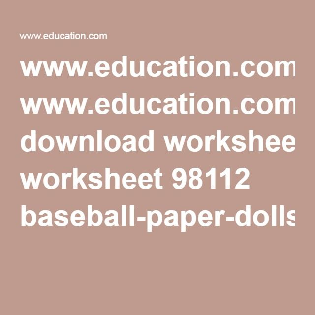 Education Download Worksheet 98112 Baseball Paper Dollspdf