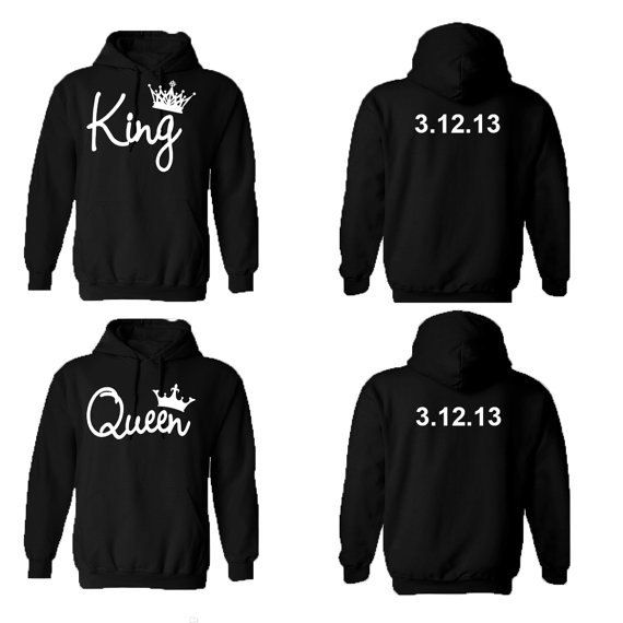 King Queen Couple Hoodies Custom Dates by CaliCraftedTops on Etsy ... 7c3a78387d