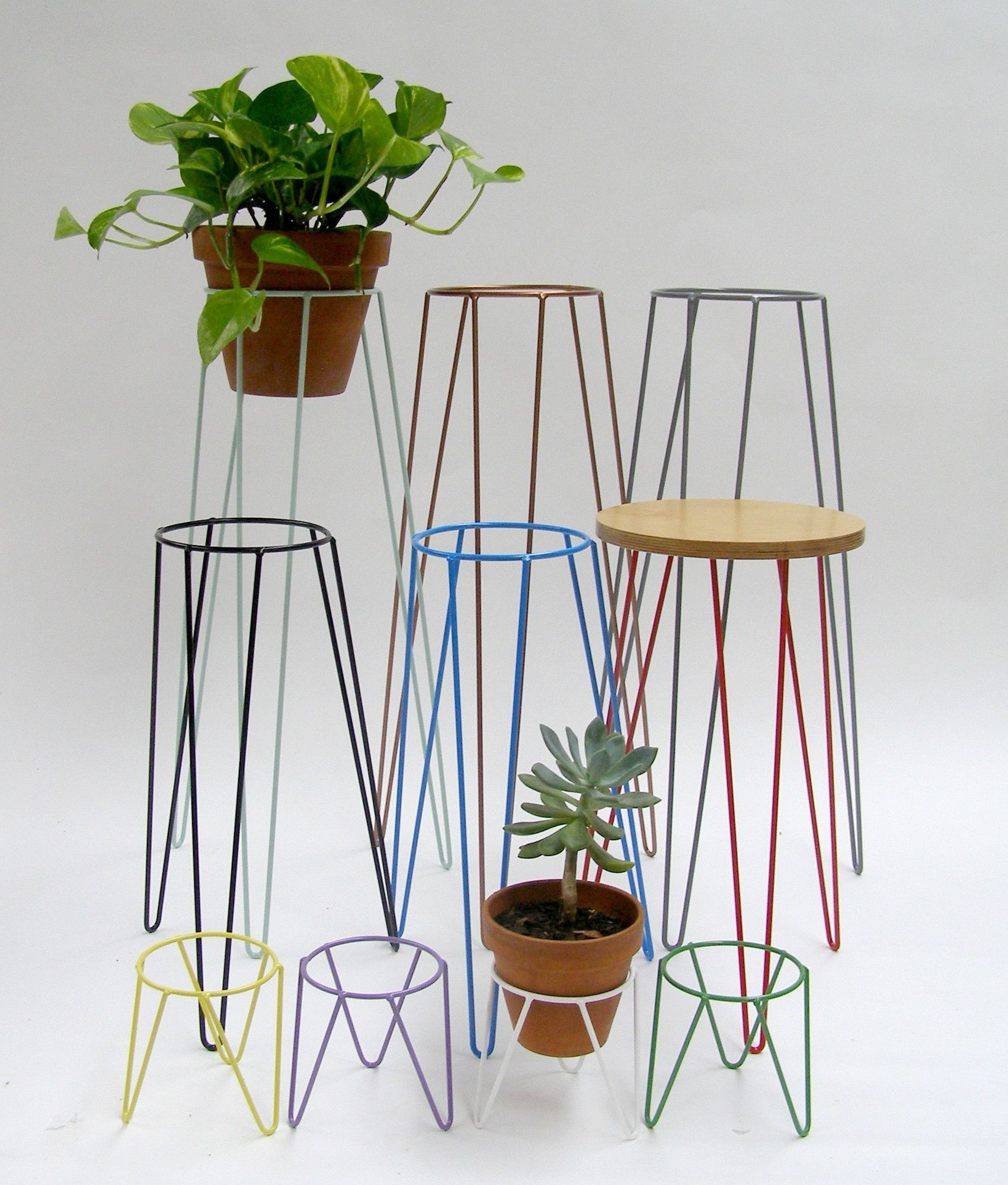 Mid Century Inspired Metal Plant Stands For Indoor And Outdoor Use Available In Copper White Black Blue Grey Mint Sizes Lge 75x 37cm Ring 20cm Std