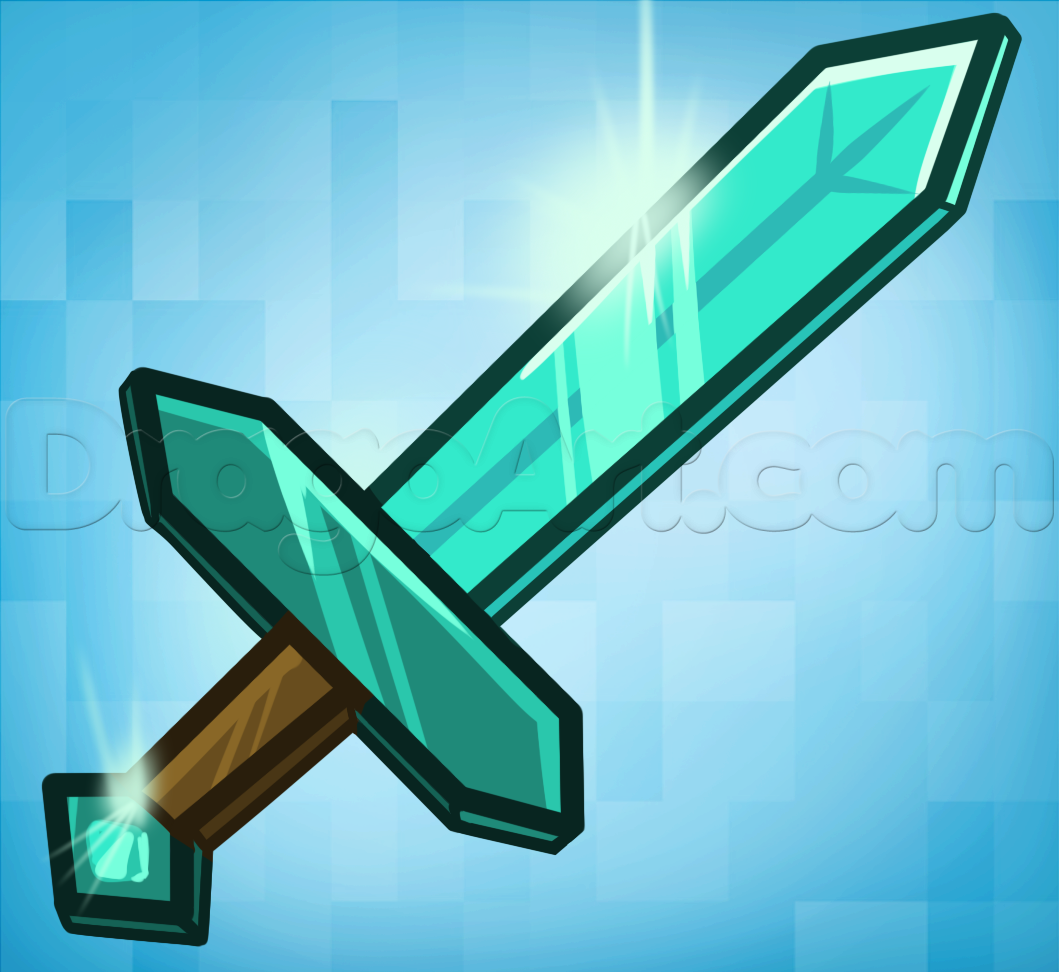 How To Draw The Minecraft Diamond Sword Step By Step Video Game Characters Pop Culture Free Online Minecraft Diamond Sword Minecraft Drawings Sword Drawing
